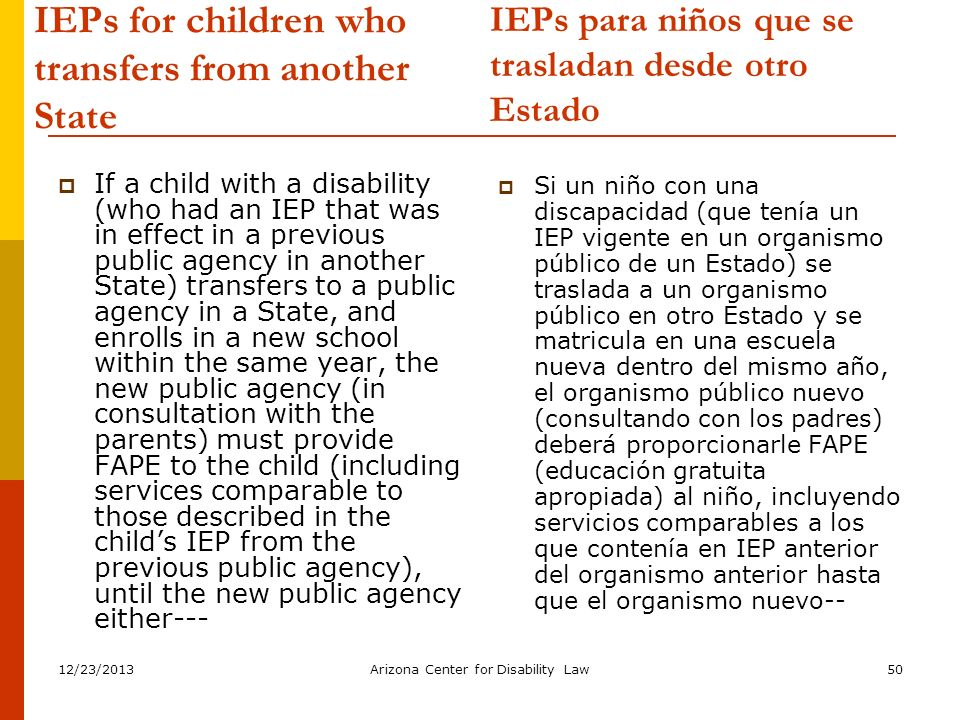 IEPs for children who transfers from another State