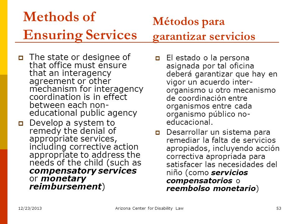 Methods of Ensuring Services