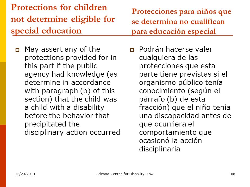 Protections for children not determine eligible for special education
