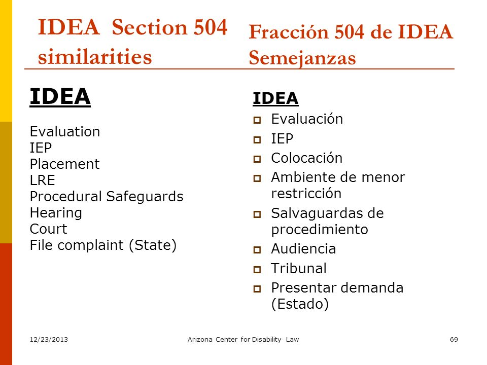IDEA Section 504 similarities