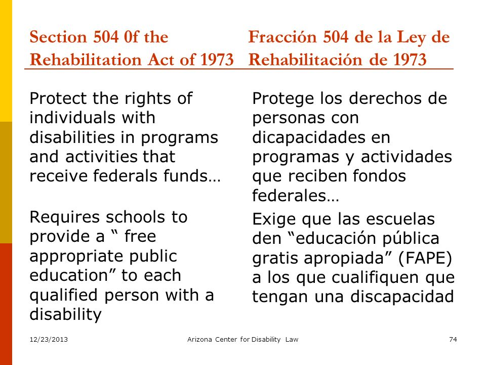 Section 504 0f the Rehabilitation Act of 1973