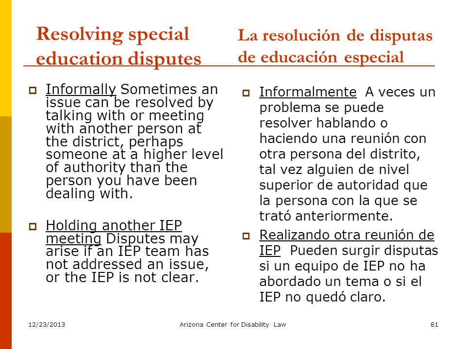 Resolving special education disputes