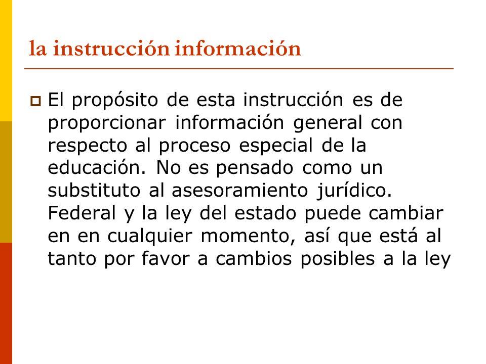 la instrucción información