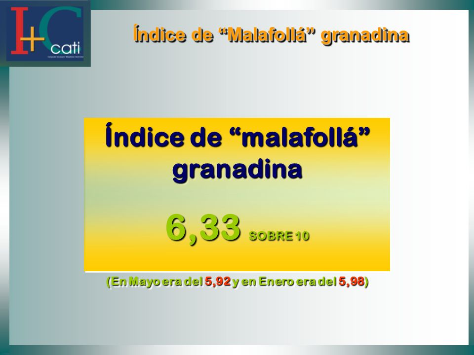 6,33 SOBRE 10 Índice de malafollá granadina