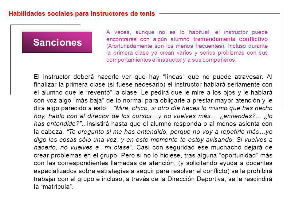 Sanciones Habilidades sociales para instructores de tenis
