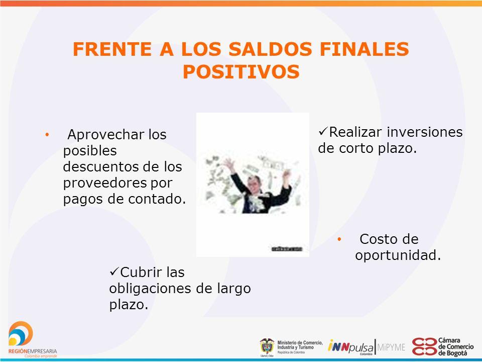 FRENTE A LOS SALDOS FINALES POSITIVOS