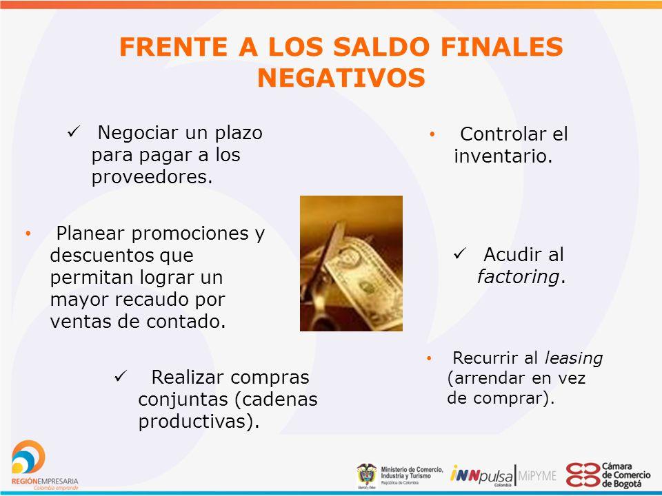 FRENTE A LOS SALDO FINALES NEGATIVOS