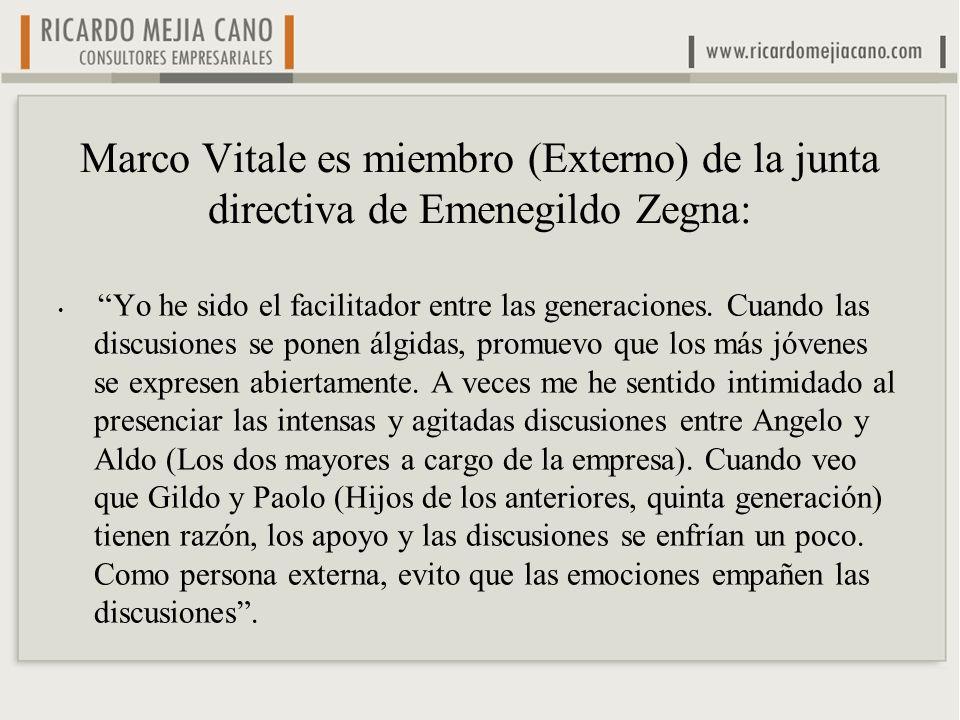 Marco Vitale es miembro (Externo) de la junta directiva de Emenegildo Zegna:
