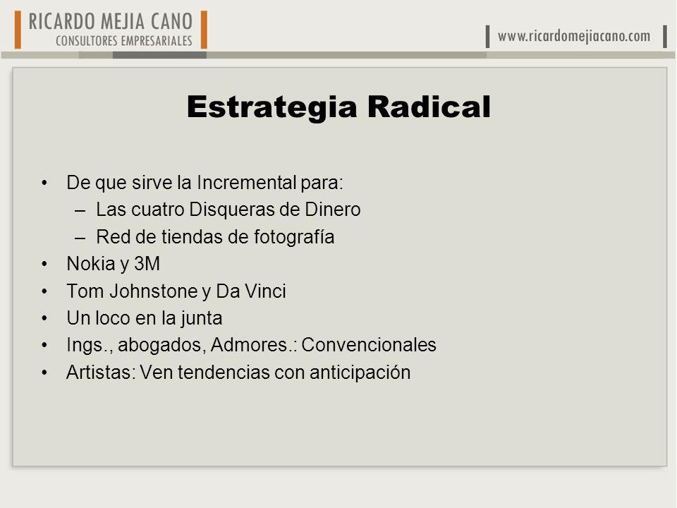 Estrategia Radical De que sirve la Incremental para: