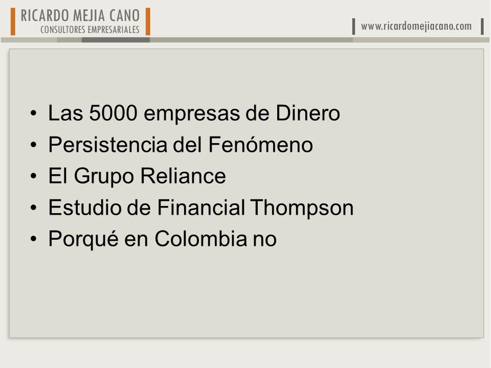 Las 5000 empresas de Dinero Persistencia del Fenómeno. El Grupo Reliance. Estudio de Financial Thompson.
