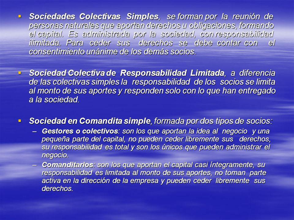 Sociedad en Comandita simple, formada por dos tipos de socios: