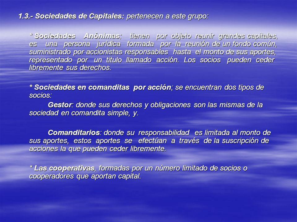 1.3.- Sociedades de Capitales: pertenecen a este grupo: