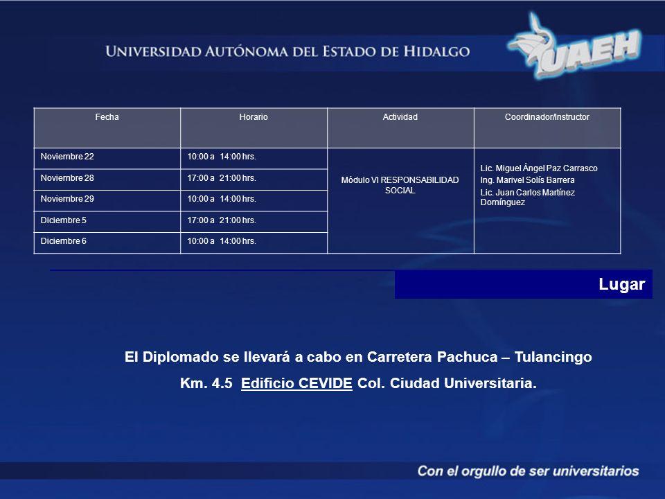 Lugar El Diplomado se llevará a cabo en Carretera Pachuca – Tulancingo