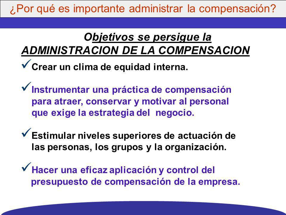Objetivos se persigue la ADMINISTRACION DE LA COMPENSACION