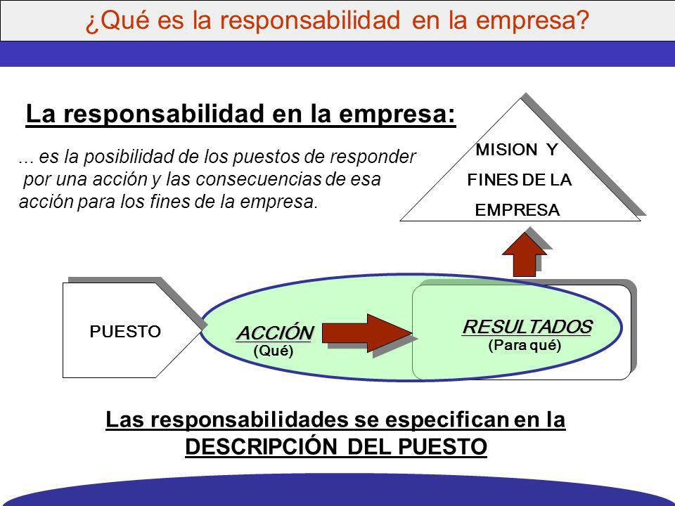Las responsabilidades se especifican en la DESCRIPCIÓN DEL PUESTO
