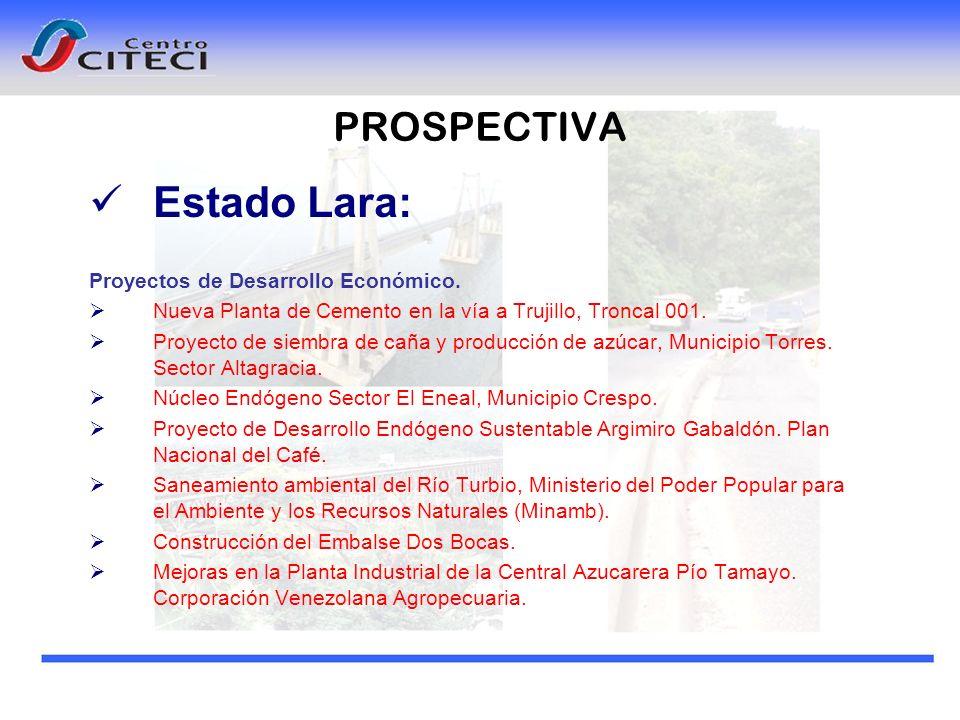 Estado Lara: PROSPECTIVA Proyectos de Desarrollo Económico.