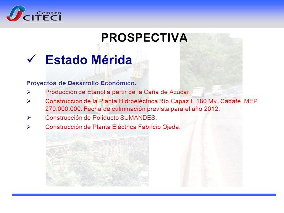 Estado Mérida PROSPECTIVA Proyectos de Desarrollo Económico.