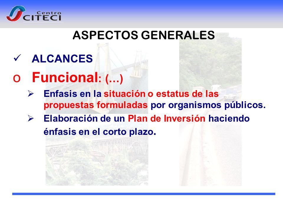 Funcional: (…) ASPECTOS GENERALES ALCANCES