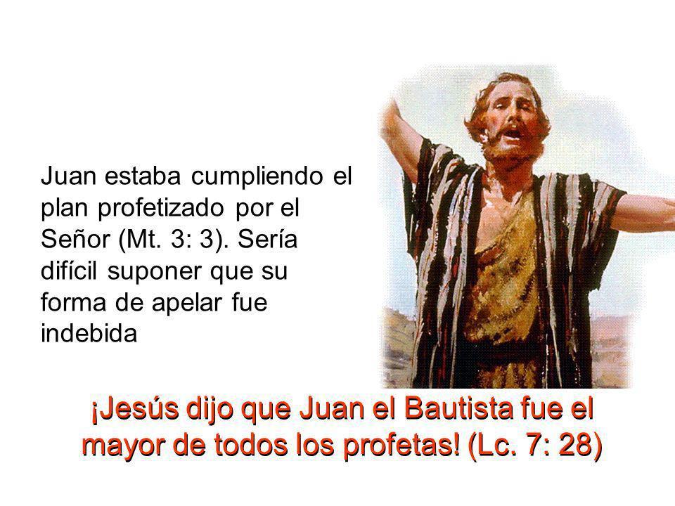 Juan estaba cumpliendo el plan profetizado por el Señor (Mt. 3: 3)
