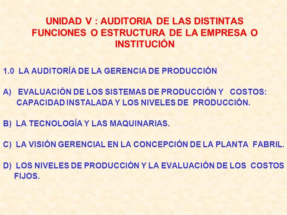 UNIDAD V : AUDITORIA DE LAS DISTINTAS FUNCIONES O ESTRUCTURA DE LA EMPRESA O INSTITUCIÓN