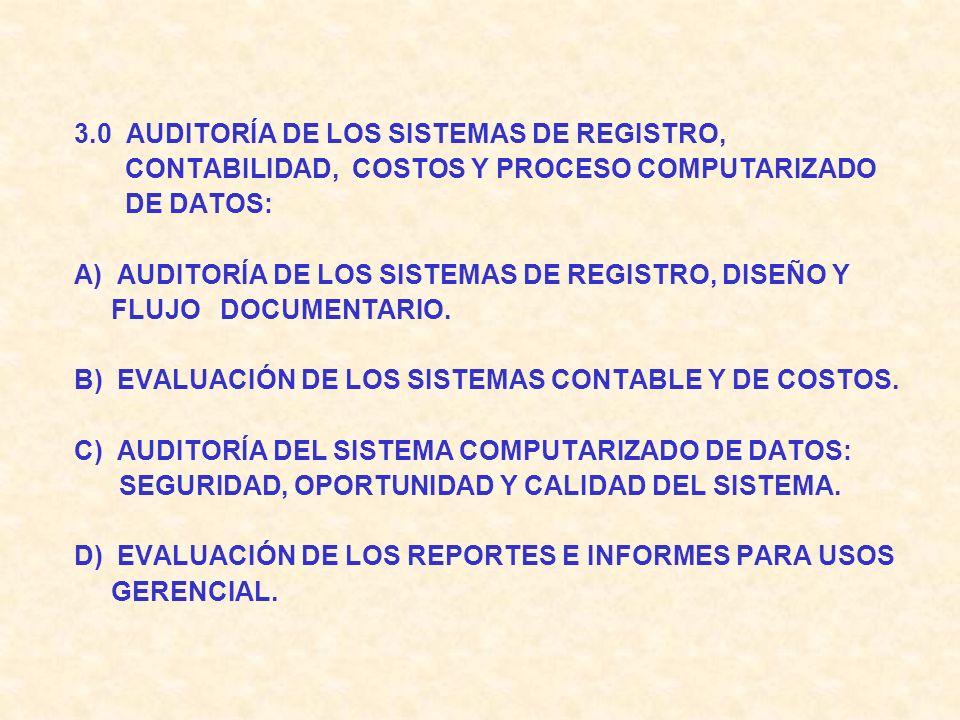3.0 AUDITORÍA DE LOS SISTEMAS DE REGISTRO, CONTABILIDAD, COSTOS Y PROCESO COMPUTARIZADO. DE DATOS: