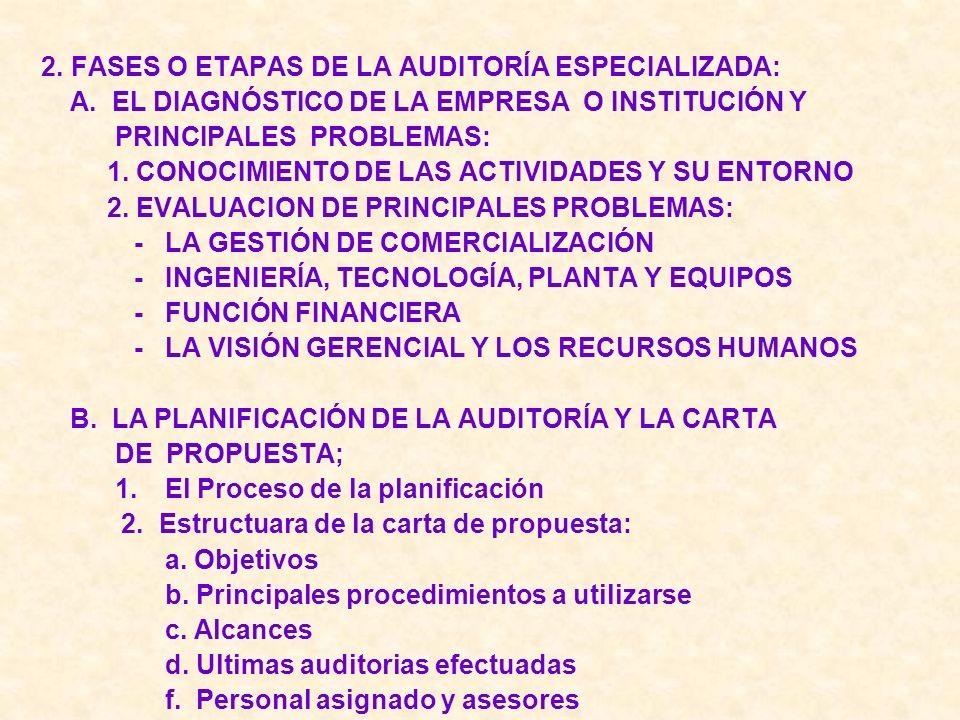 2. FASES O ETAPAS DE LA AUDITORÍA ESPECIALIZADA: