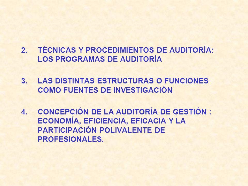 TÉCNICAS Y PROCEDIMIENTOS DE AUDITORÍA: LOS PROGRAMAS DE AUDITORÍA
