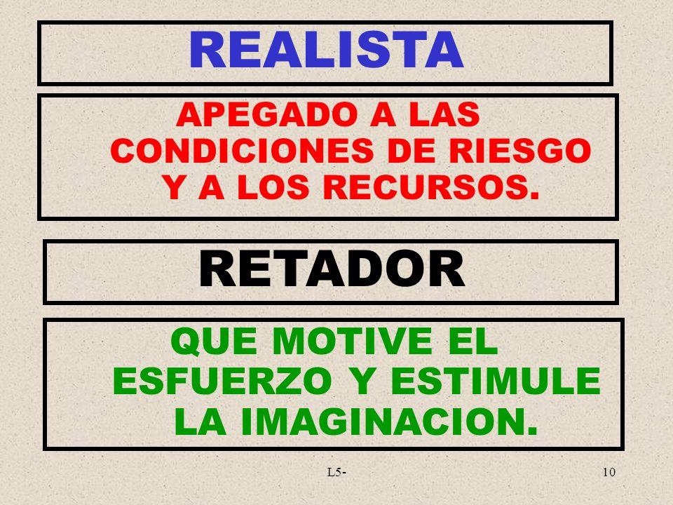 REALISTA RETADOR QUE MOTIVE EL ESFUERZO Y ESTIMULE LA IMAGINACION.