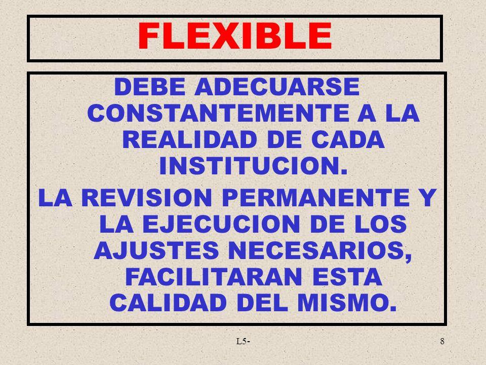 DEBE ADECUARSE CONSTANTEMENTE A LA REALIDAD DE CADA INSTITUCION.