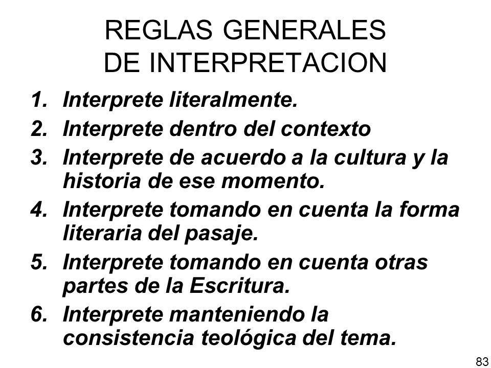 REGLAS GENERALES DE INTERPRETACION