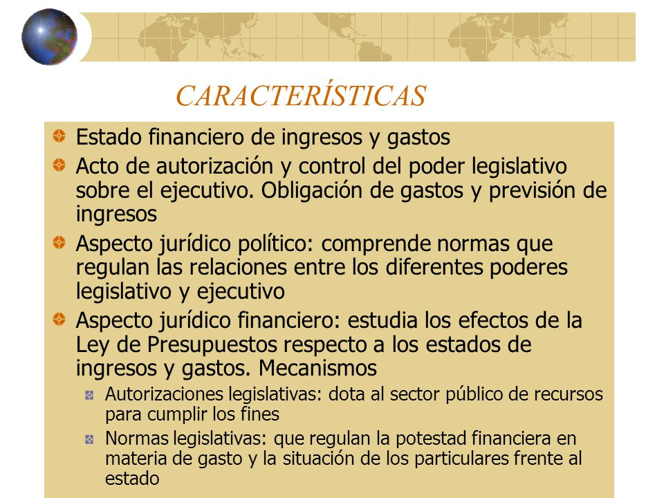 CARACTERÍSTICAS Estado financiero de ingresos y gastos