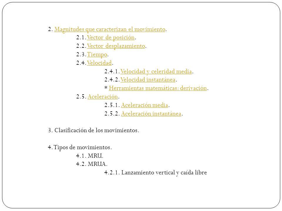 2. Magnitudes que caracterizan el movimiento.