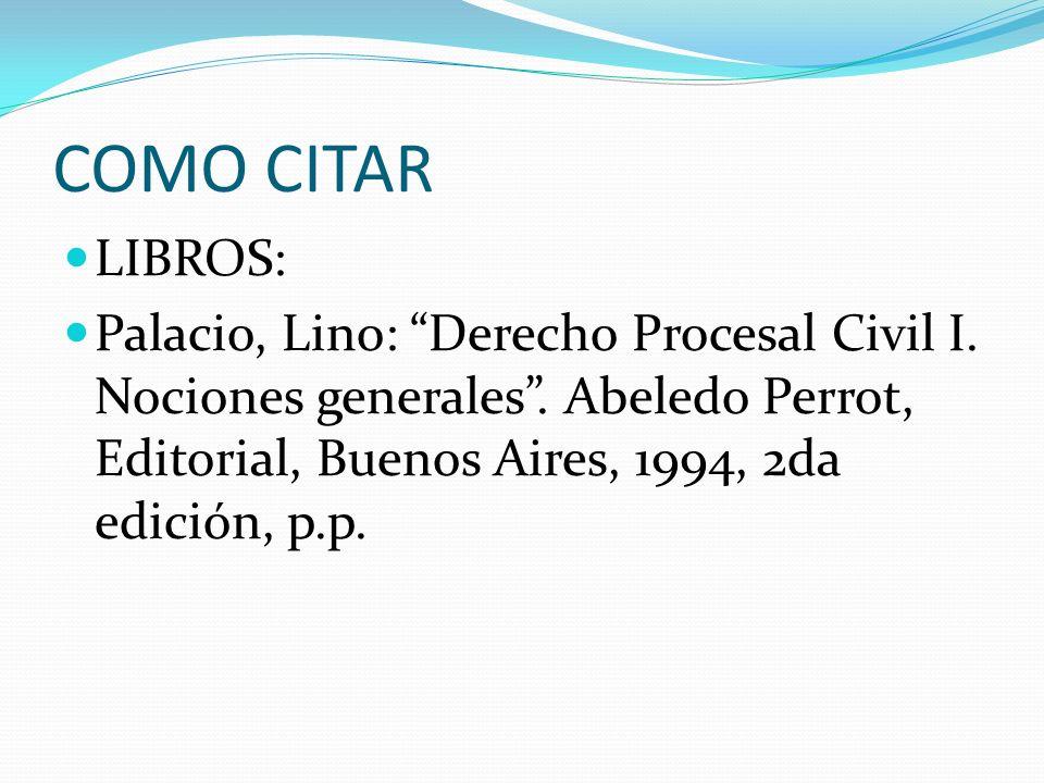 COMO CITAR LIBROS: Palacio, Lino: Derecho Procesal Civil I.