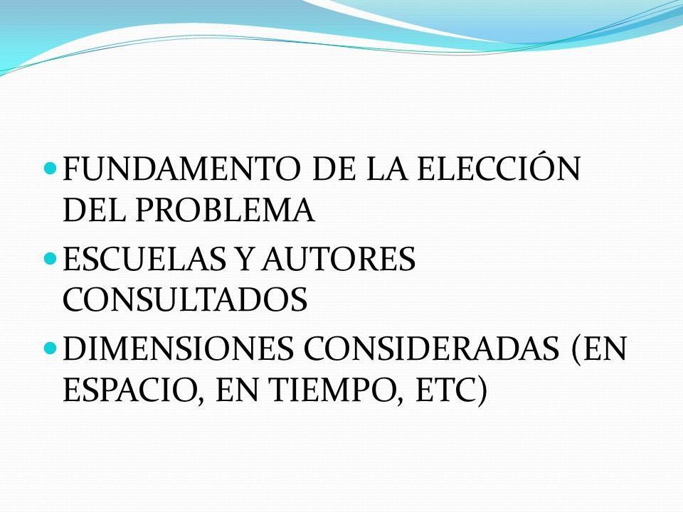 FUNDAMENTO DE LA ELECCIÓN DEL PROBLEMA