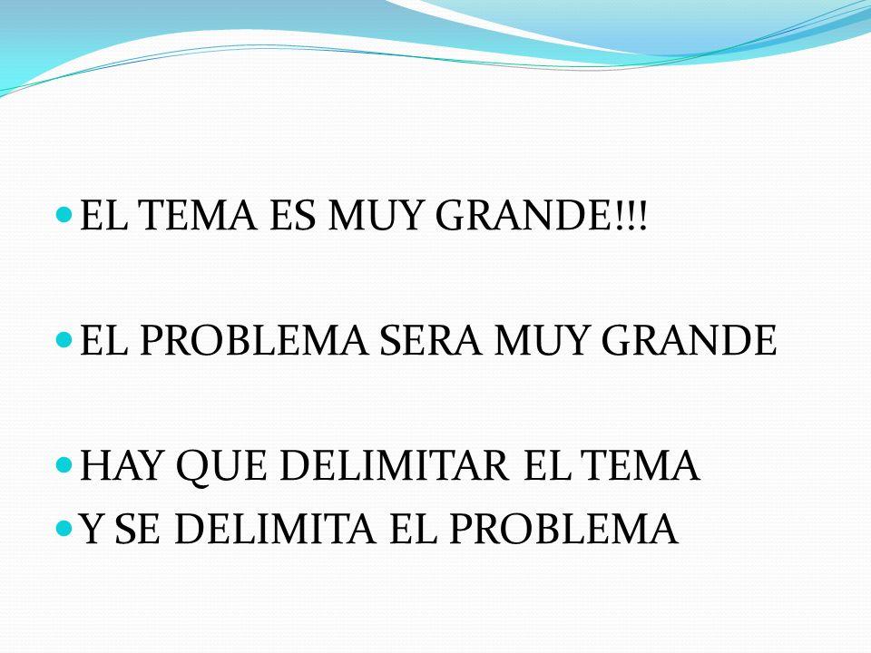EL TEMA ES MUY GRANDE!!!EL PROBLEMA SERA MUY GRANDE.