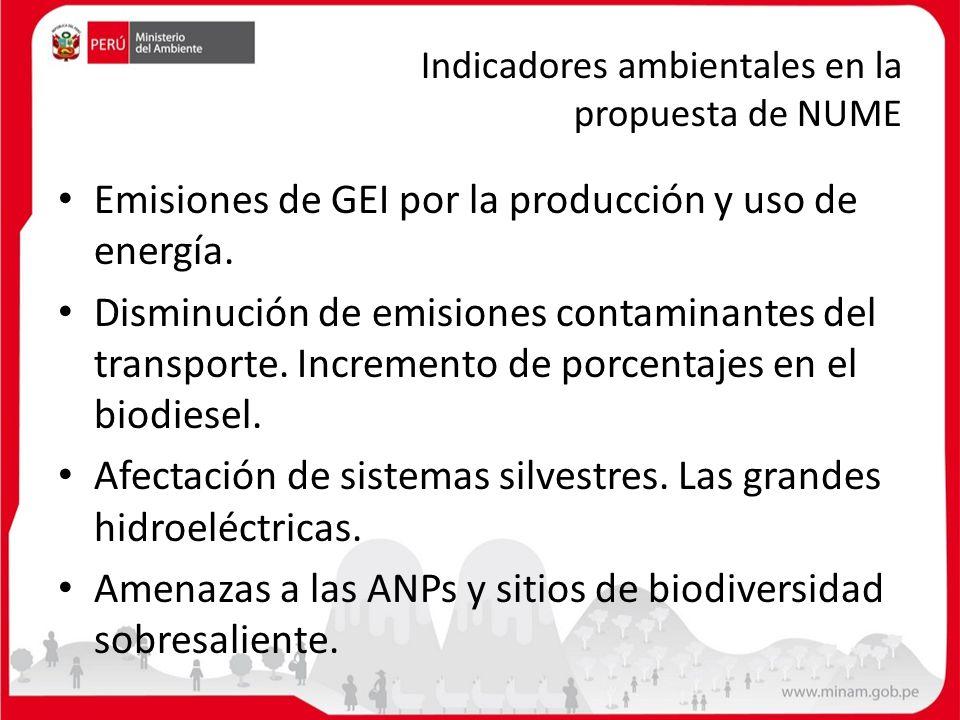 Indicadores ambientales en la propuesta de NUME
