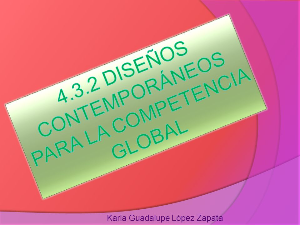 4.3.2 DISEÑOS CONTEMPORÁNEOS PARA LA COMPETENCIA GLOBAL
