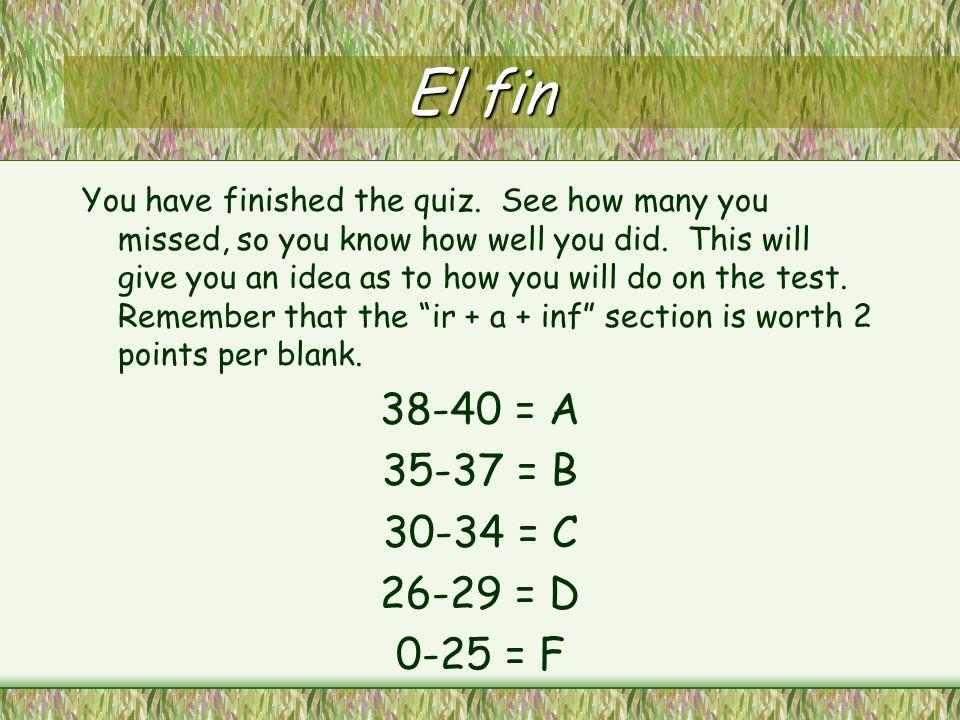 El fin 38-40 = A 35-37 = B 30-34 = C 26-29 = D 0-25 = F