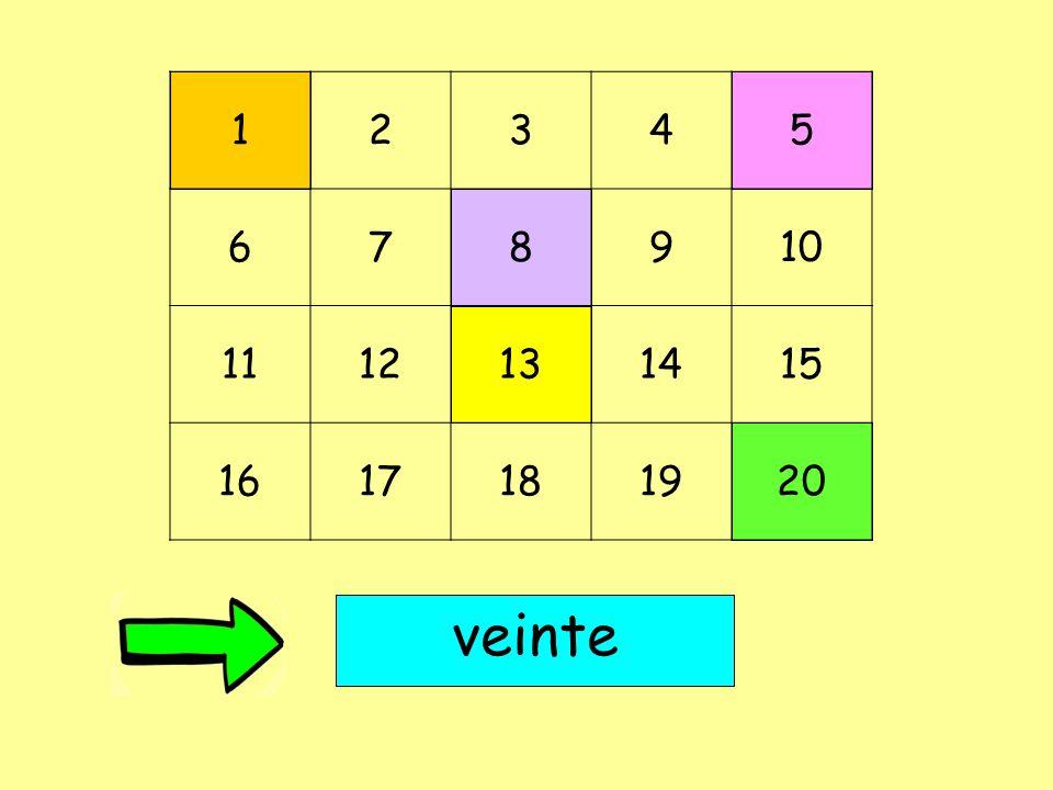 1 2 3 4 5 6 7 8 9 10 11 12 13 14 15 16 17 18 19 20 veinte
