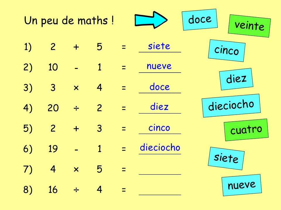 doce Un peu de maths ! + veinte - × cinco ÷ diez dieciocho cuatro
