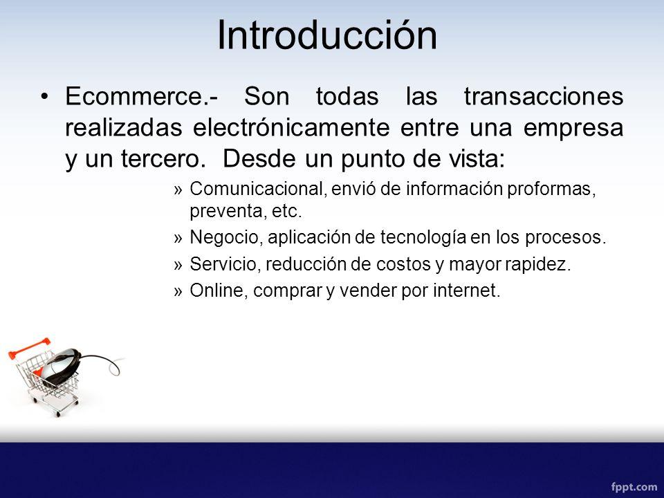 Introducción Ecommerce.- Son todas las transacciones realizadas electrónicamente entre una empresa y un tercero. Desde un punto de vista: