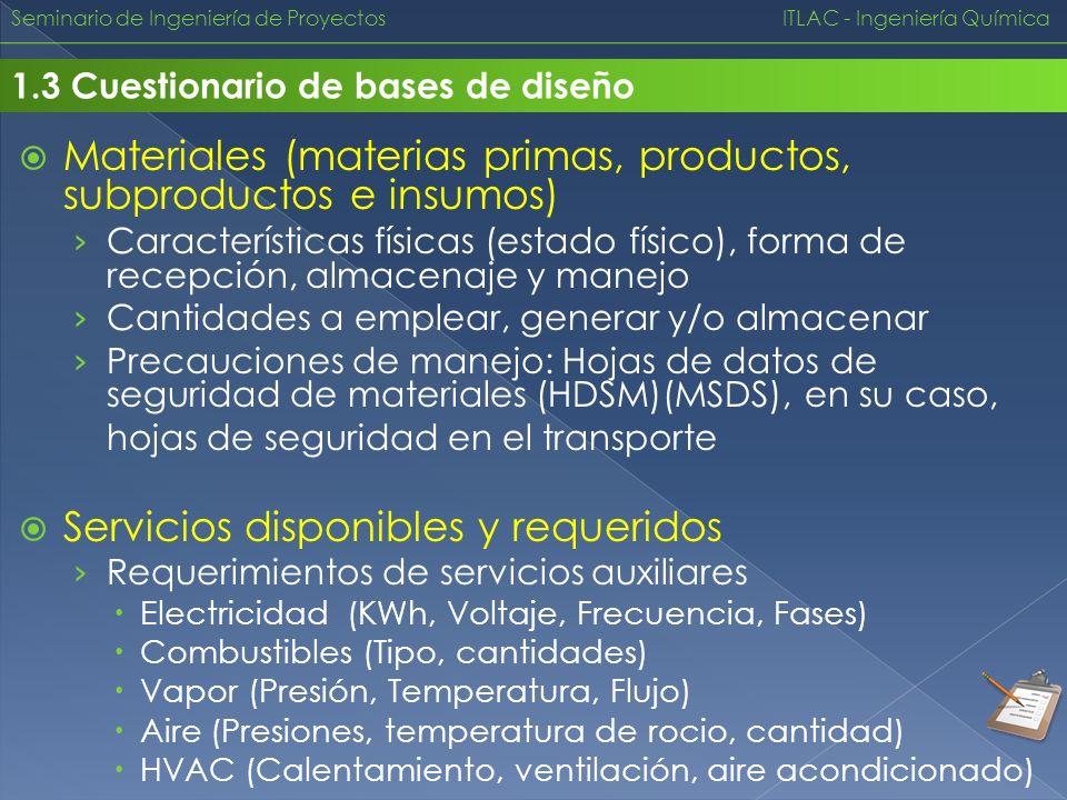 Materiales (materias primas, productos, subproductos e insumos)