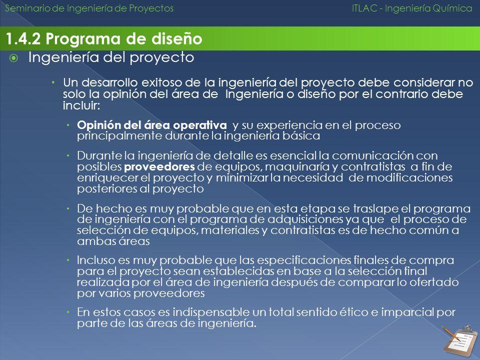 1.4.2 Programa de diseño Ingeniería del proyecto