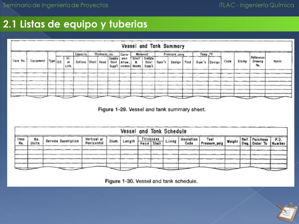 2.1 Listas de equipo y tuberias