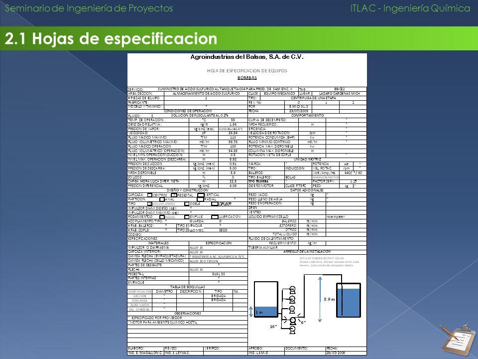 2.1 Hojas de especificacion