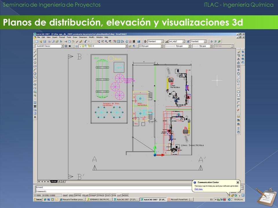 Planos de distribución, elevación y visualizaciones 3d