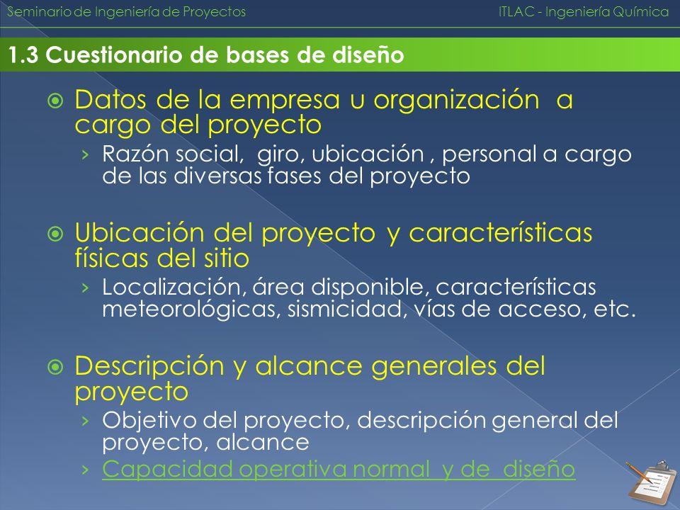 Datos de la empresa u organización a cargo del proyecto