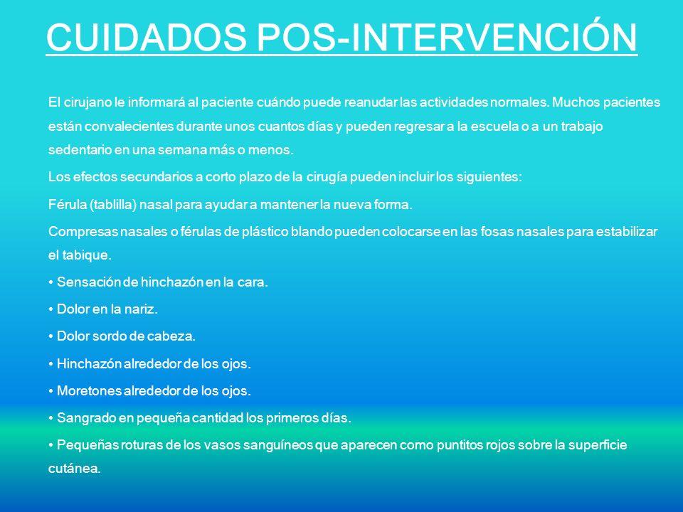 CUIDADOS POS-INTERVENCIÓN