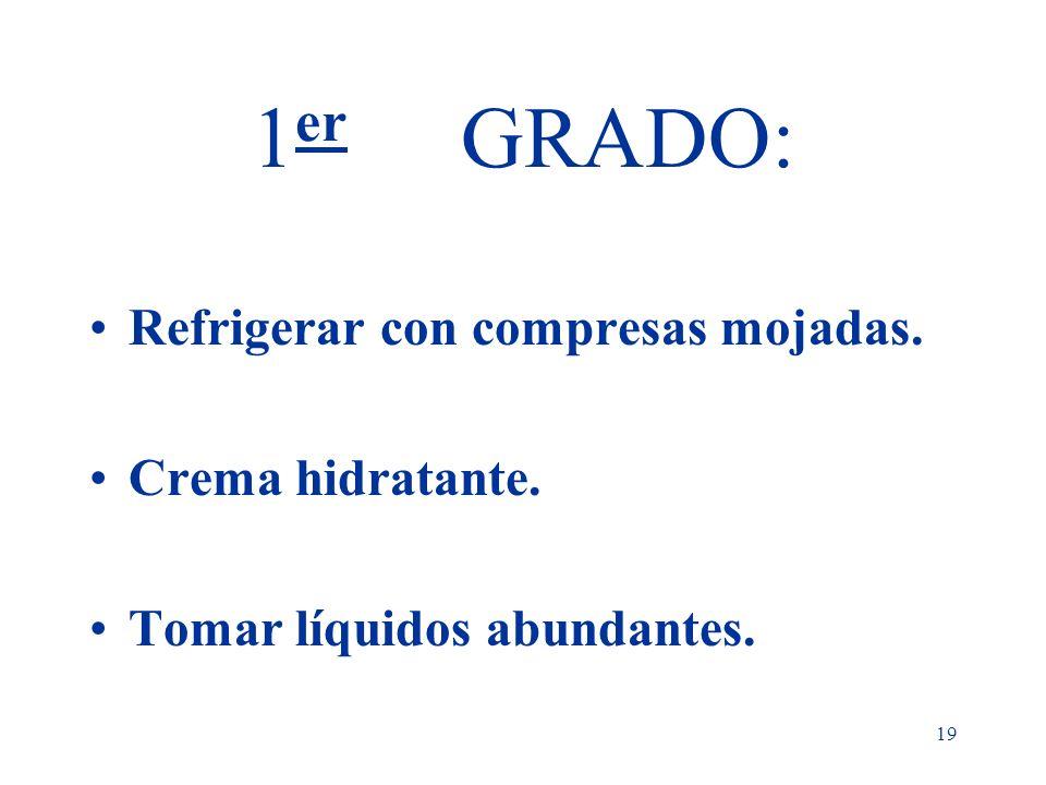 1er GRADO: Refrigerar con compresas mojadas. Crema hidratante.