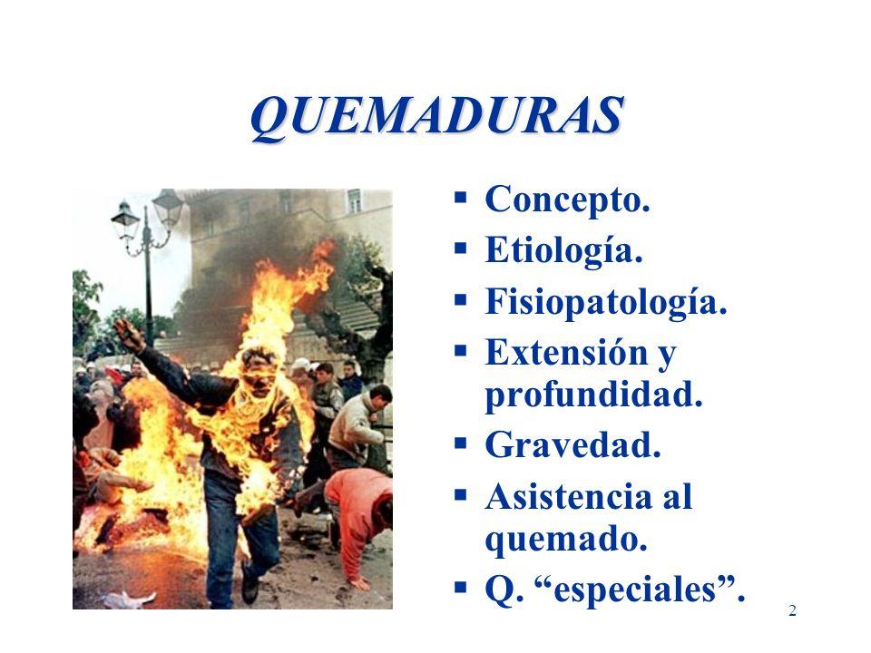 QUEMADURAS Concepto. Etiología. Fisiopatología.